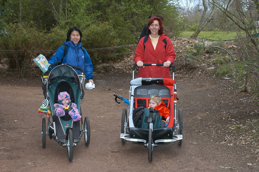Tina and Christine pushing strollers at the zoo