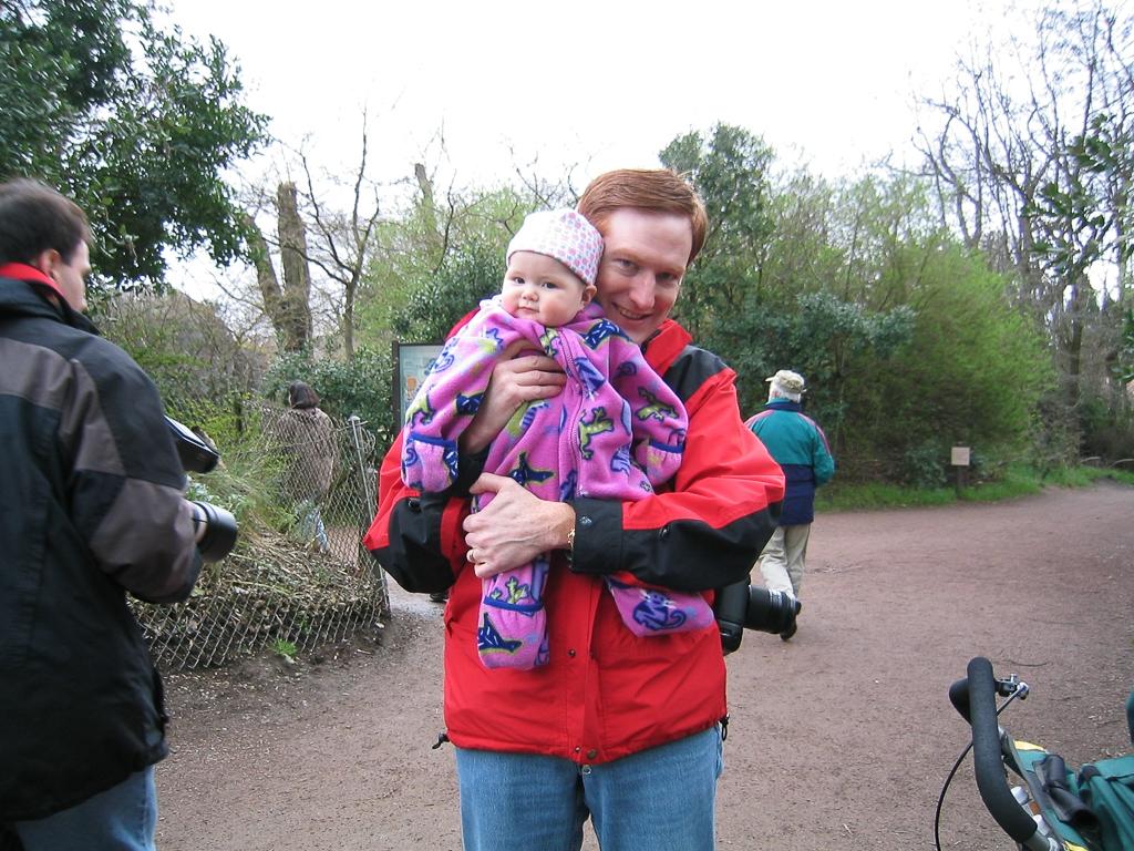 Dad holds Katherine near the giraffes.